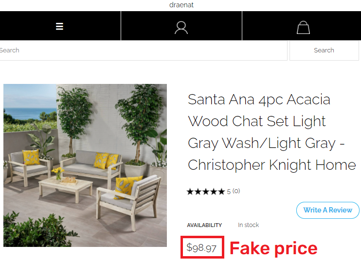 draenat scam patio set fake price