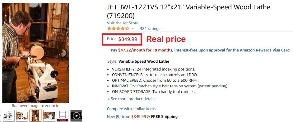 jet lathe amazon real price