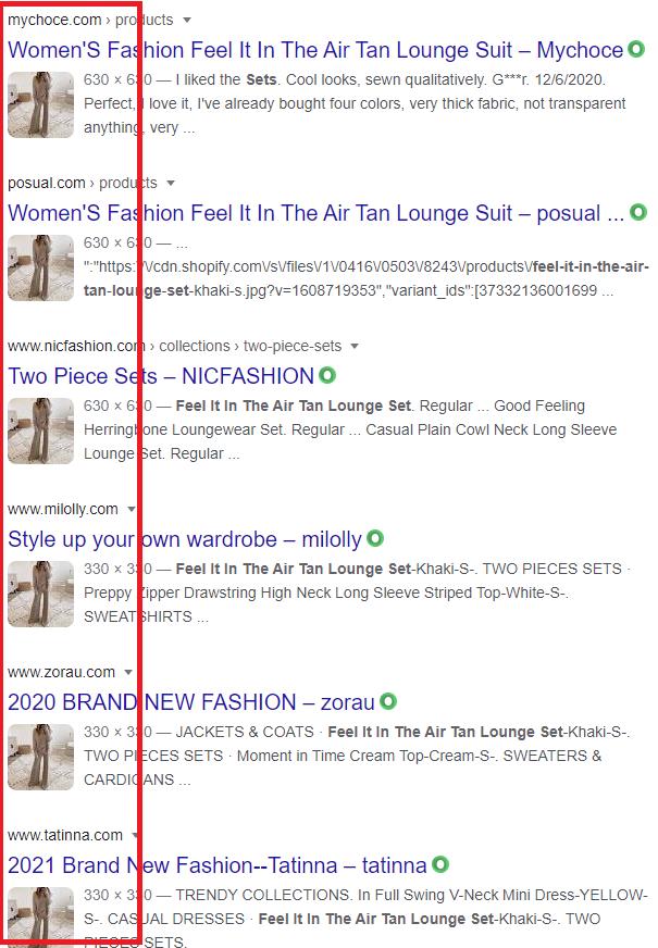 same product on multiple websites