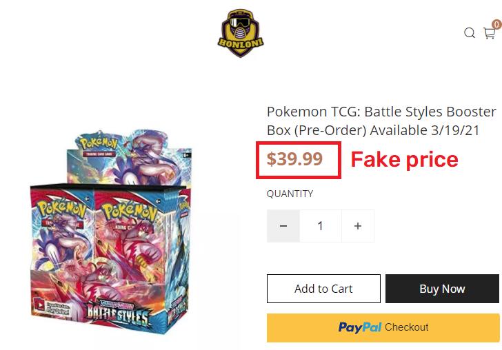 honloni scam pokemon tcg booster box fake price