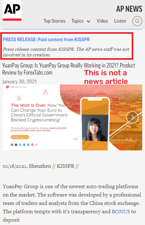 Yuanpaygroup scam paid press release