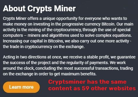 Cryptsminer scam fake company details 2