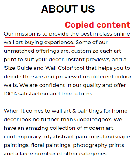 globalbagbox scam about us page copied content 1