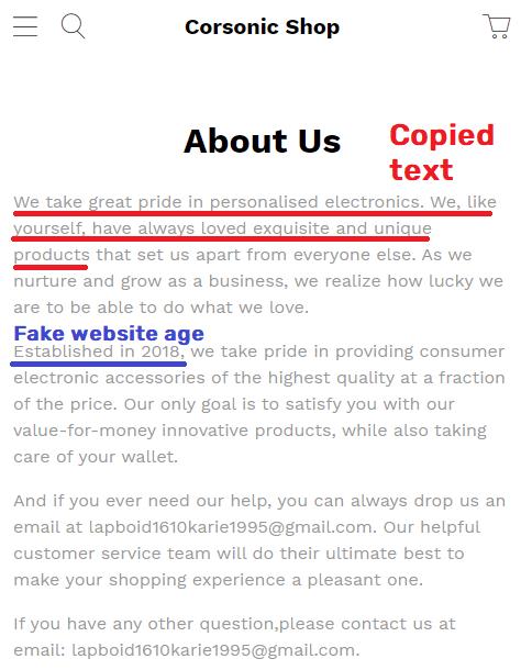 Corsonic Shop scam about us 1