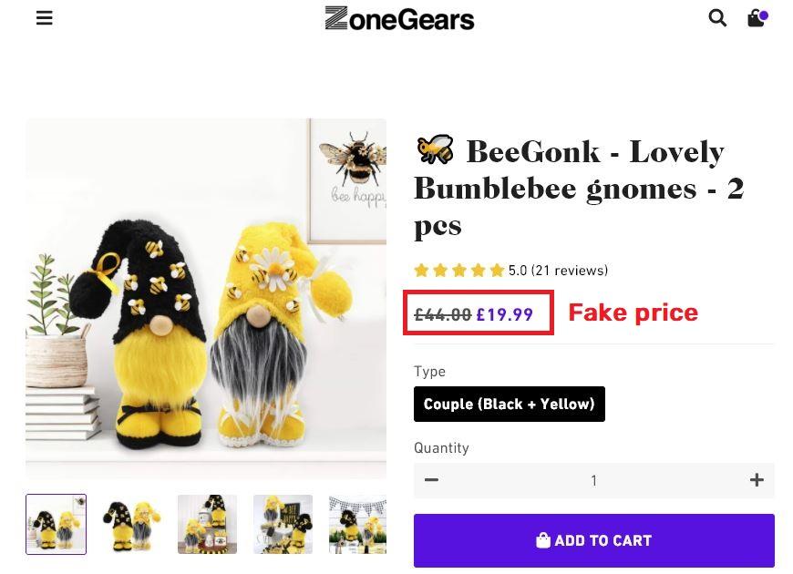 zone-gears scam fake price gnomes
