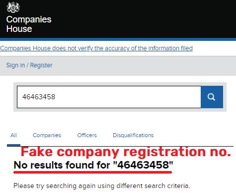 cramtrade scam fake company registration number