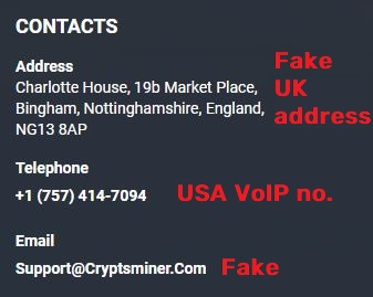 cryptsminer fake contact details