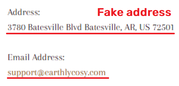 Earthlycosy scam fake contact details