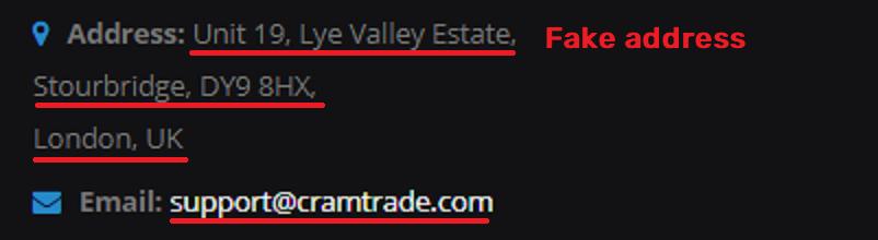 cramtrade scam fake address 1