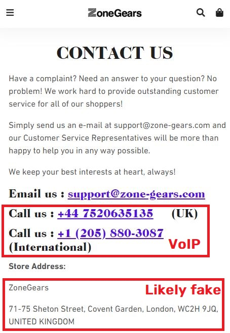 zone-gears scam fake contact details