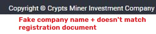 crypts miner investment company fake name