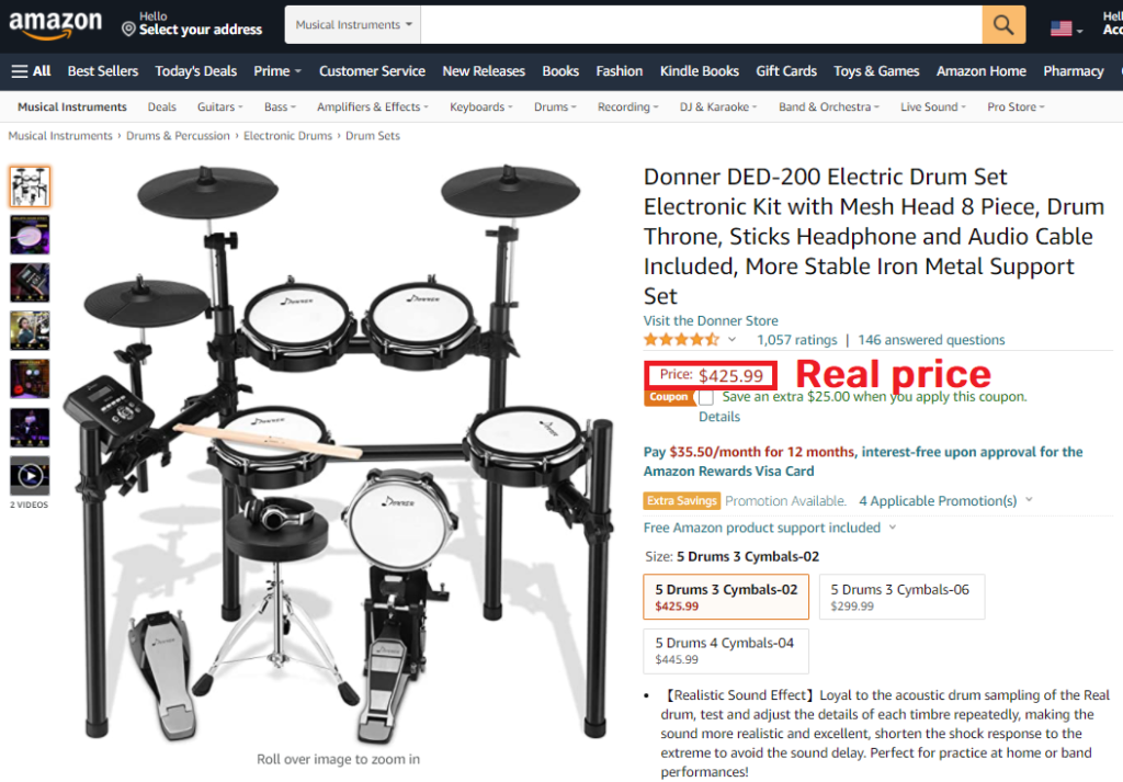 donner ded-200 electric drum kit real price amazon