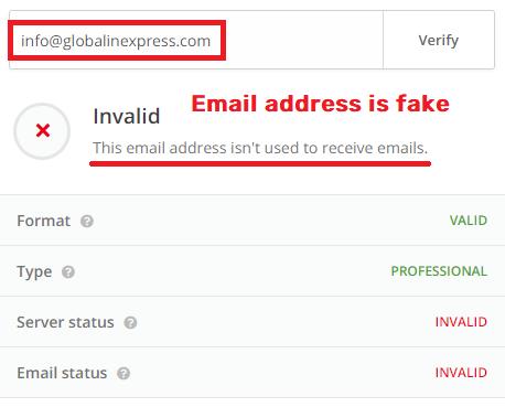 globalinexpress global line express scam fake email address