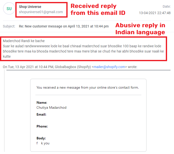 globalbagbox scam hindi email reply
