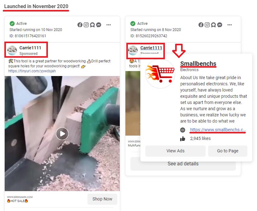 smallbenchs scam facebook ad