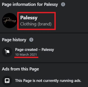 palessy scam facebook page information 2