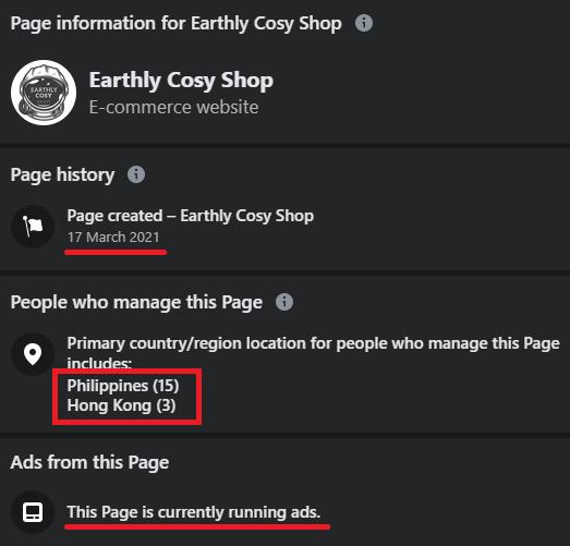 earthly cosy shop facebook page