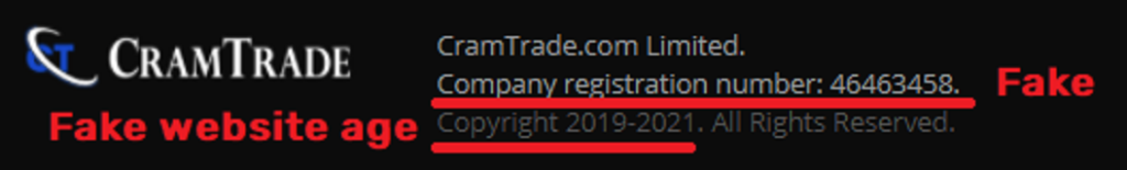 cramtrade scam fake website age and company registration