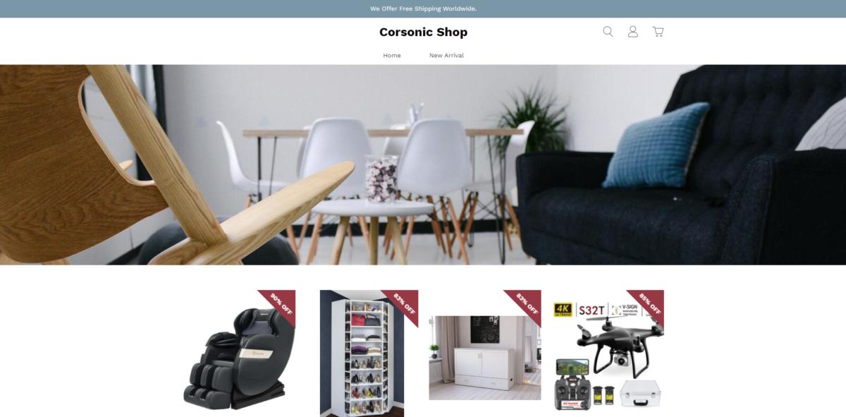 corsonic shop scam home page