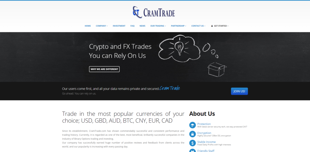 cramtrade scam home page