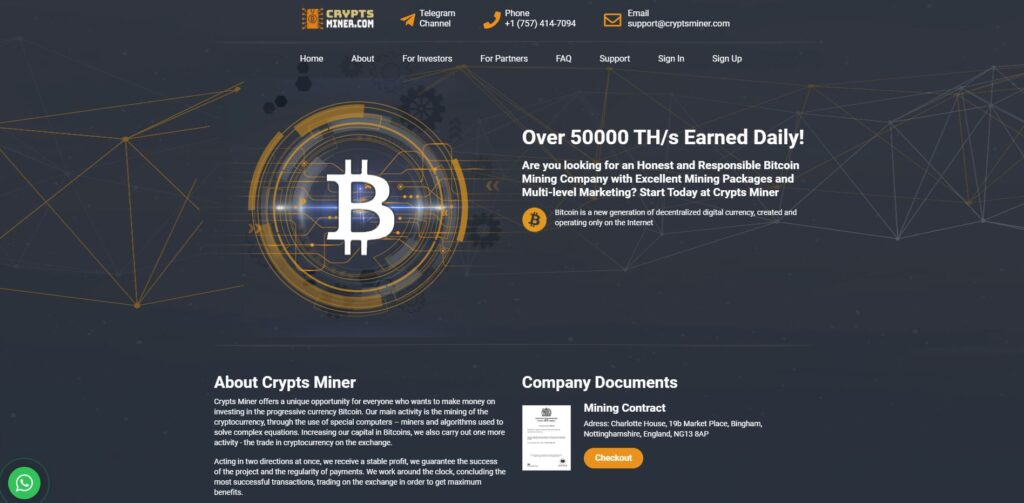 cryptsminer scam home page