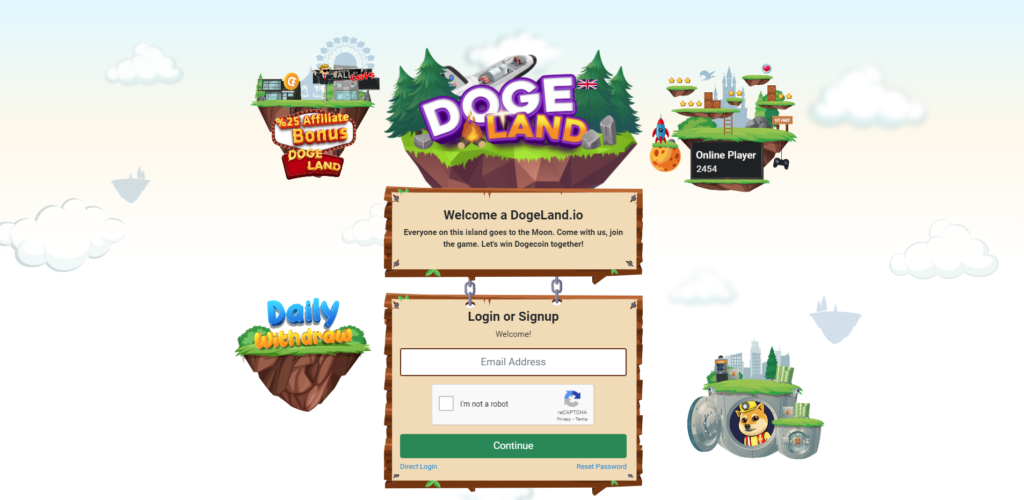 dogeland scam home page