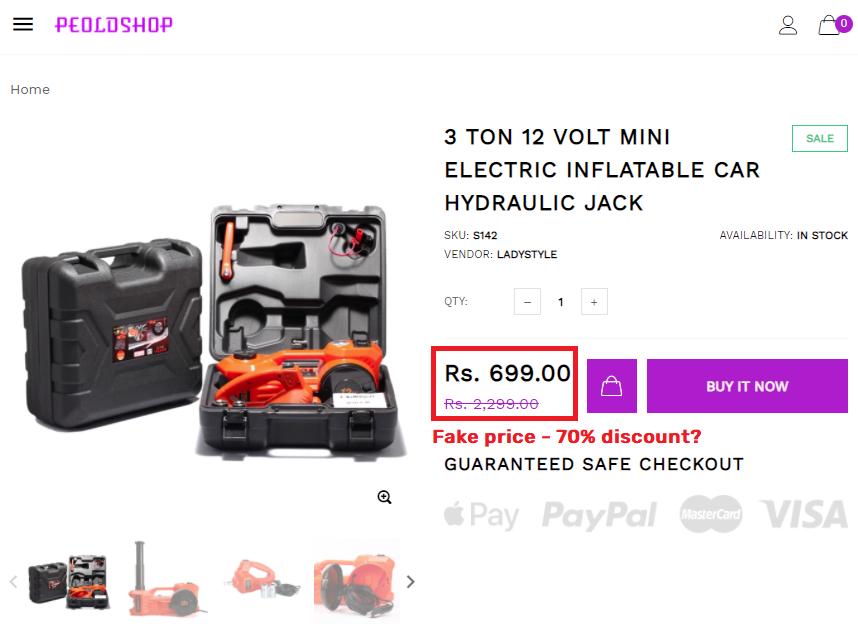 peoldshop scam hydraulic car jack fake price