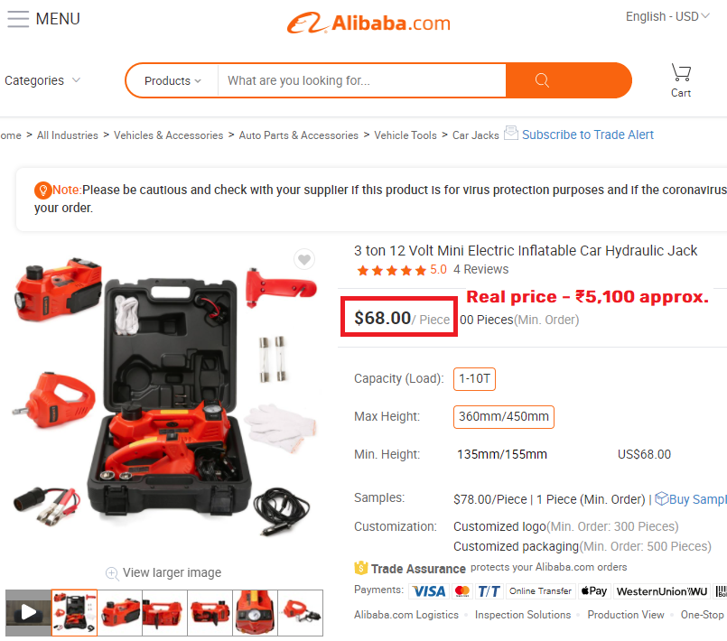 alibaba hydraulic car jack real price