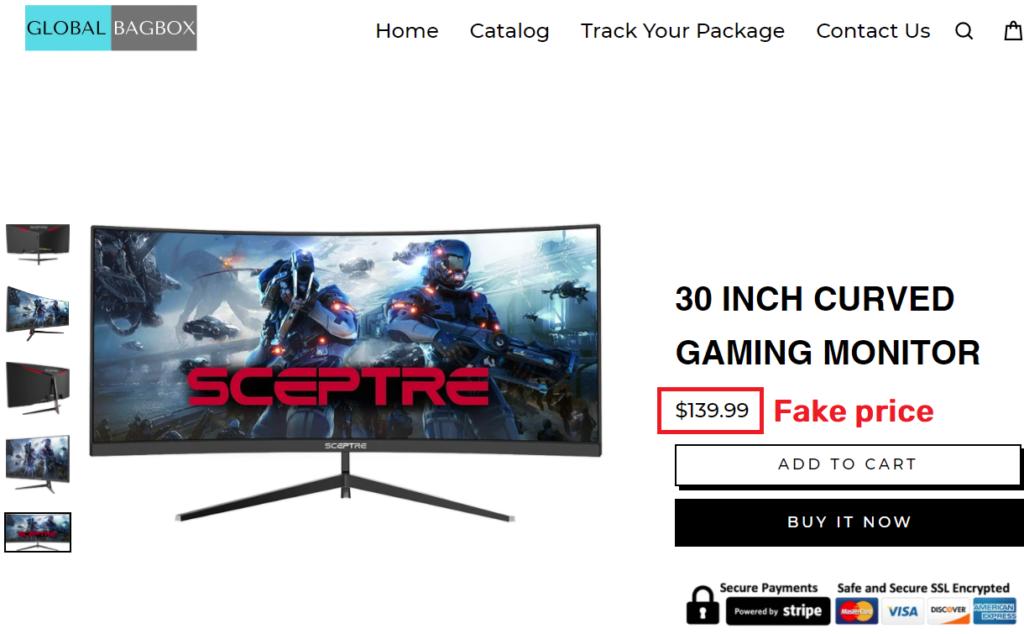 globalbagbox scam sceptre gaming monitor fake price
