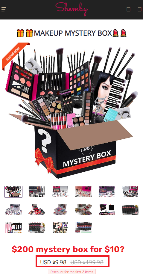 shemby scam make-up mystery box