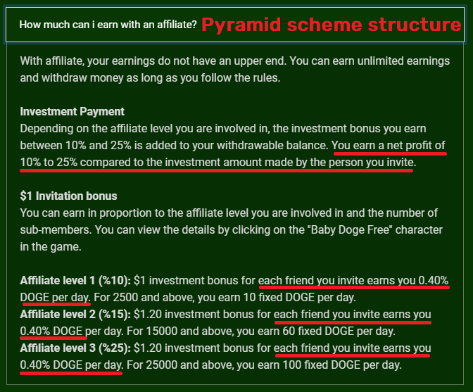 dogeland scam referral commission structure