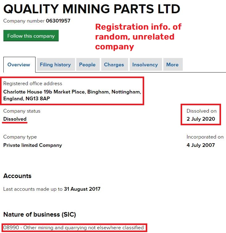 Cryptsminer scam fake company registration 2