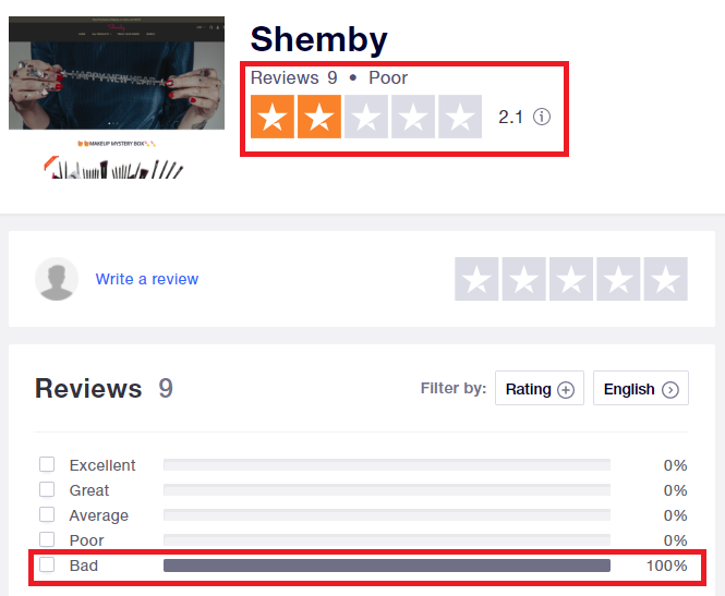 shemby scam trustpilot rating