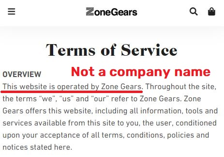 no company name in tos