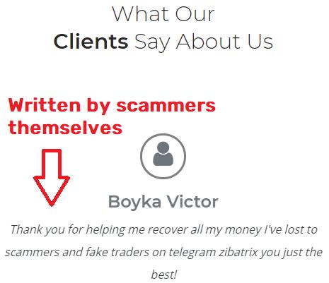 zibatrix scam fake testimonial