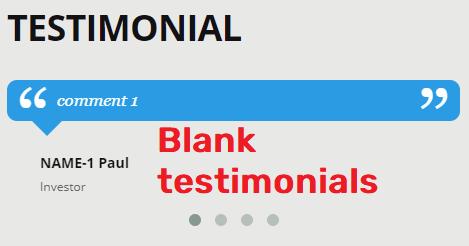 blank testimonial section