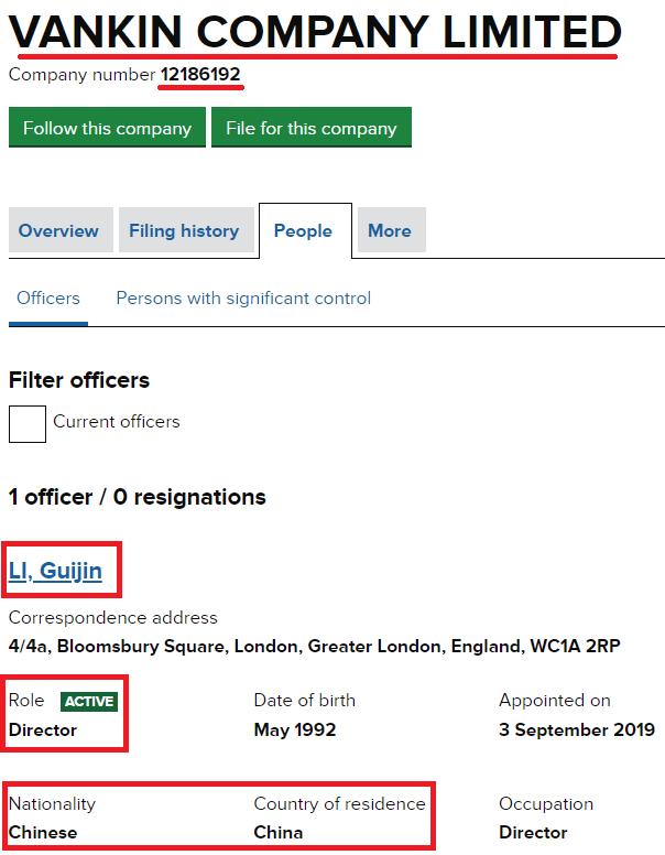 vankin company limited uk shell registration