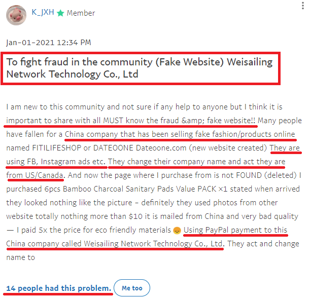 Weisailing paypal complaint 1