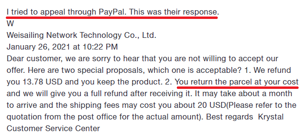 Weisailing paypal complaint 5