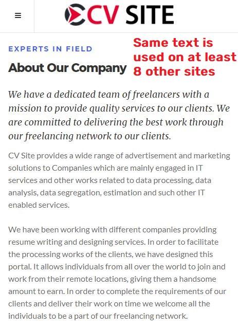 cvssite jobsvita scam copied content