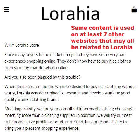 lorahia scam about us page