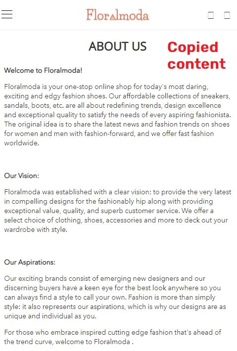 floralmoda scam about us page