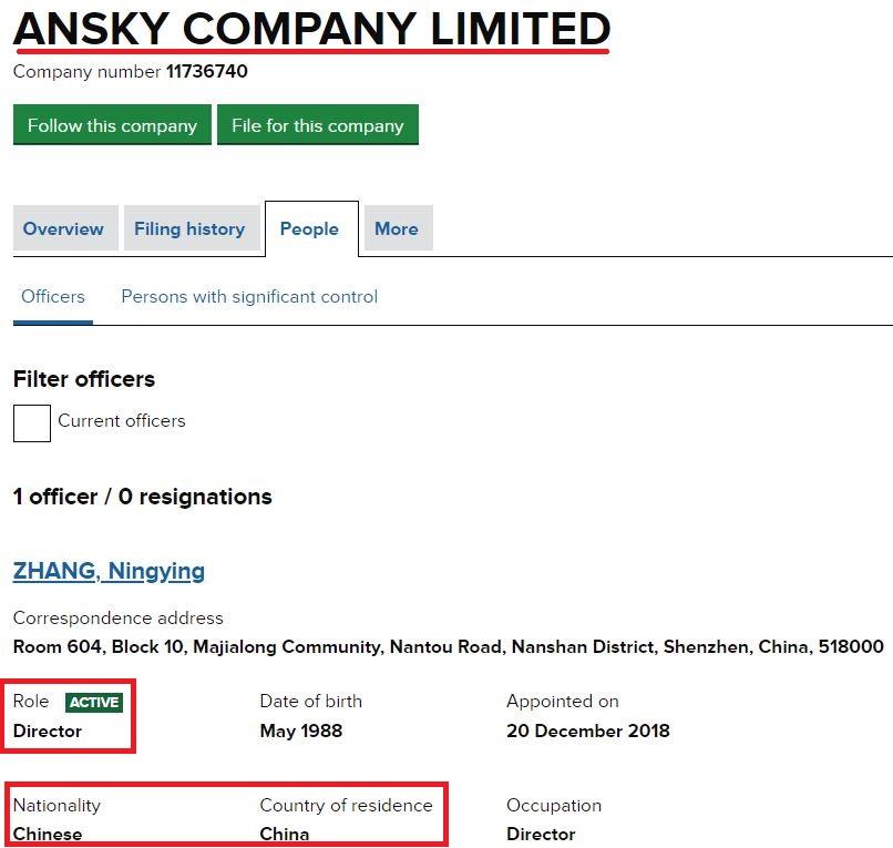 ansky company ltd uk shell