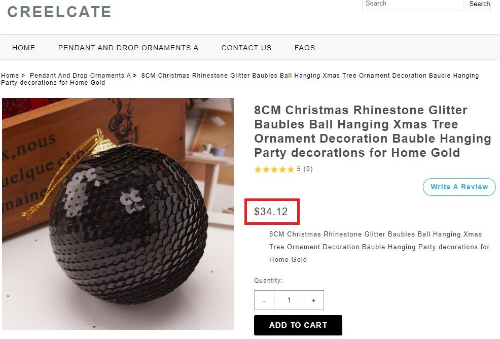 creelcate scam baubles fake price