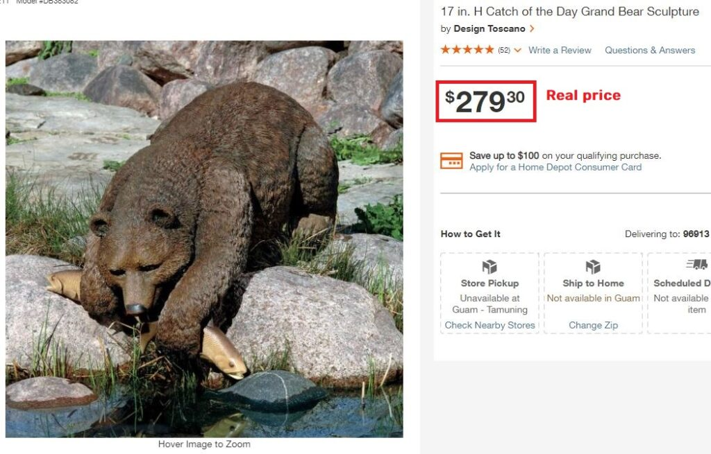 plastictoyr scam bear statue real price