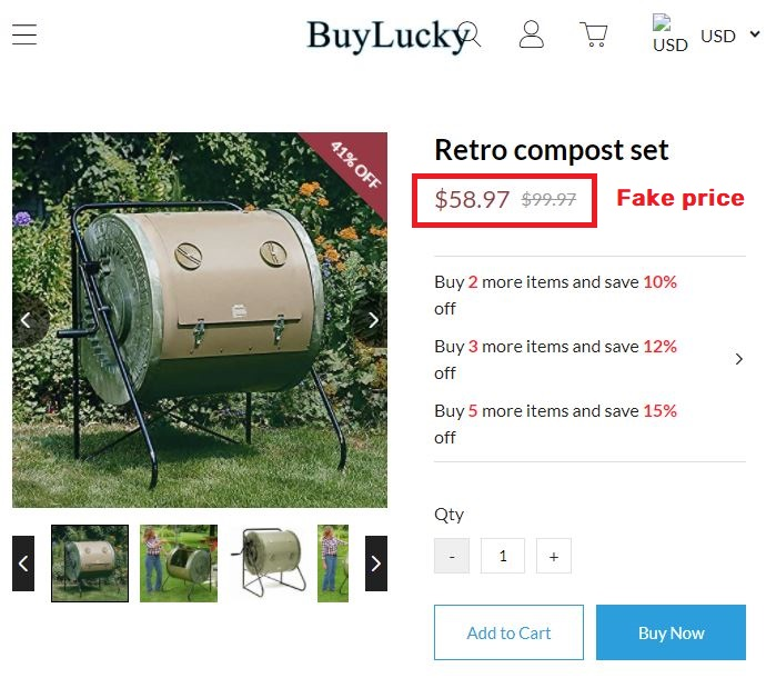 buyluckys scam composter fake price