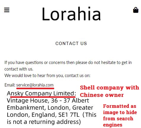lorahia scam fake contact details