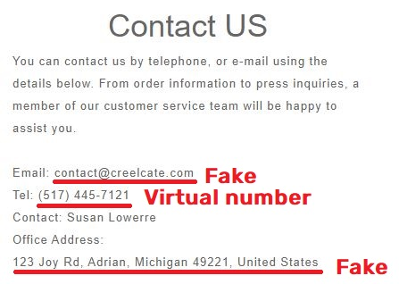 creelcate scam fake contact details