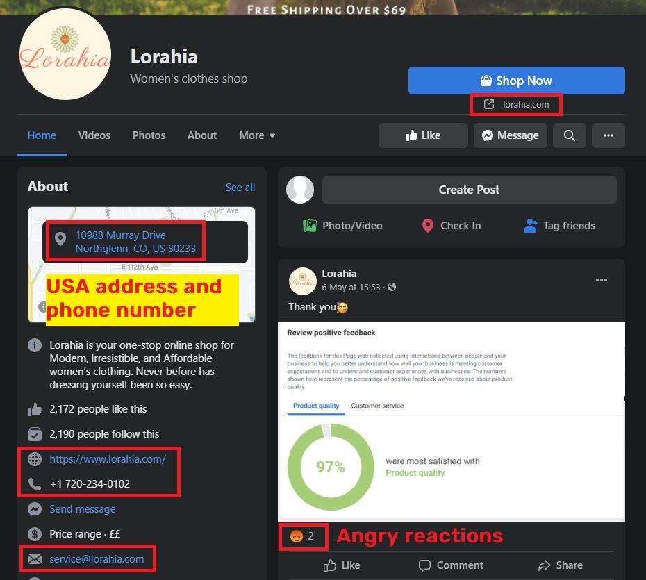 lorahia scam facebook page 1