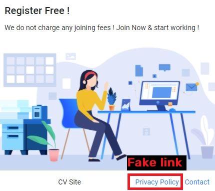 cvssite jobsvita scam fake privacy policy